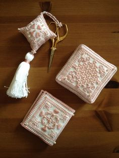 Hearts and Flowers - This set of needlework smalls is worked in Punto Antico embroidery.  It's not available to purchase just yet, but classes should start soon!