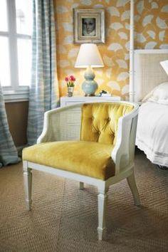Yellow Velvet Cane Chair! Love it...