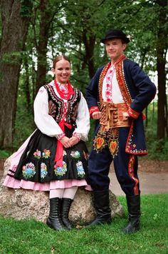 Highly detailed his and her's traditional Polish costumes. #Poland #polish #traditional #costume #clothing #folk #dress #travel #woman #man