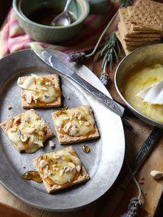 Brie Graham Cracker Crostini with Lavendar Honey   FoodieCrush.com