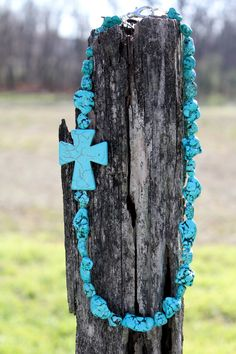 Chunky Cross Necklace - Turquoise. $25.00, via Etsy.