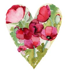 It's the little things..... flower heart, floral heart, queen of hearts, watercolor heart, poppi heart, poppies, disguis heart, flowers, cottag fenc