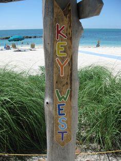 Key West Beach Sign @ Key West,Fl