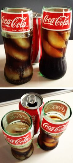DIY Inspiration - Coca-Cola Coke Glass Bottle Drinking Glass #recycled #coke #bottle
