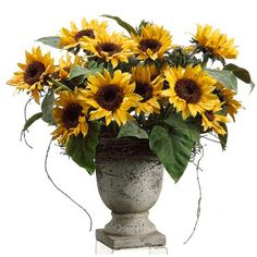 "23"" Sunflower in Terra Cotta Urn #silkflowers"
