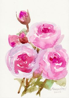 paper roses, watercolours flowers, watercolour flower painting, watercolor flowers
