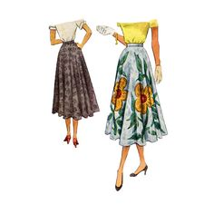 1950 Circle Skirt Sewing Pattern Below the Knee by retromonkeys, $14.00