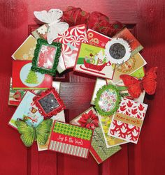Great idea to make a Christmas card wreath!