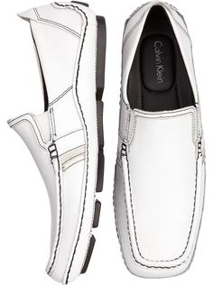 Shoes - Calvin Klein White Slip-On Shoes - Men's Wearhouse