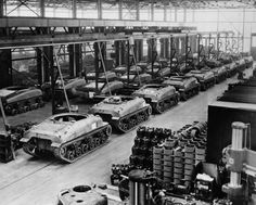 Mass production of the M4 Sherman, officially the Medium Tank, M4. The M4 was the primary battle tank used by the US and the other Western Allies during WW2. The M4 was the second most produced tank of the WW2 era, after the Soviet T-34, and its role in its parent nation's victory was comparable to that of the T-34. The tank took its name from the American Civil War General William Tecumseh Sherman.