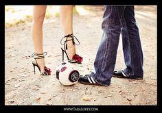 Engagement portrait - soccer and high heels (Tara Lokey Photography)