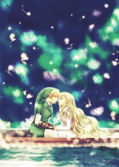 Link and Zelda love on lake Hylia, by unknown artist