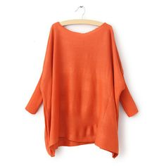 $11.11 Long Sleeve Round Neck Solid Color Knitting Women's Sweater (ORANGE,ONE SIZE) | Sammydress.com