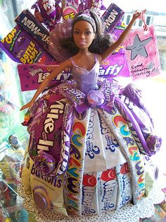 Barbie in a candy dress. I used to make these... they were so much fun!