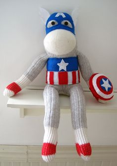 Captain America Sock Monkey. $50.00, via Etsy.