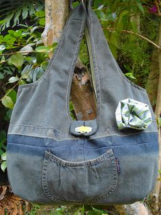 Bolsa jeans verde - recycled jeans;  by Veronica Arteira