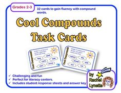 Here is a fun and challenging way for your students to gain familiarity with compound words. Each of these 32 cards features six words that can be combined to make three compound words. The challenge is to correctly match the words, since each word can only be used one time. $