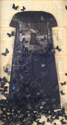 butterfli, dream dress, paper dresses, collag, mixed media, little black dresses, art pieces, textile art, ronald ceuppen