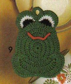 Frog Potholder free crochet pattern