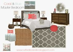 Cultivate Create: Blue and Coral Master Bedroom Design Board