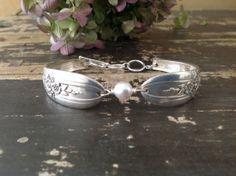 Sophia spoon bracelet with Swarovski pearl by WillowgalJewelry, $30.00