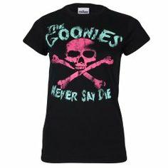 The Goonies Never Say Die - pink skull and crossbones ladies T-shirt