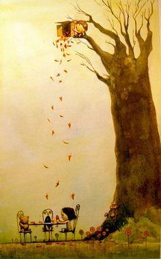 tree, season, autumn leaves, autumn art, artist, illustration art, tea, falling leaves, parti