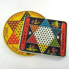 vintage Chinese Checker Board / Tin Game Board