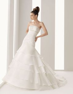 Organza over satin strapless A-line bridal gown