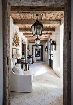 Floors + ceiling decor, floors, architectur stone, design interiors, beam, hous, wood ceilings, hallway, stones