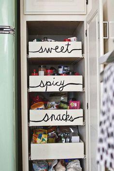 Fun pantry organization! #kitchen #pantry #spices #snacks #organization