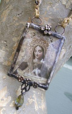 Etsy Transaction - OOAK Assemblage Silver Solder Embellished Madonna Antique Seam Binding Labradorite Wrapped Pendant Necklace