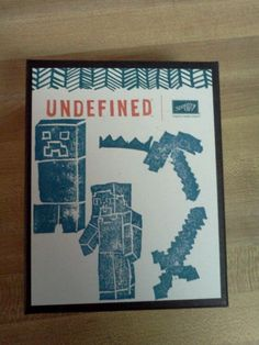 Minecraft stamp set I made with my boys using Stampin Up!'s new Undefined kit. #stampinup #undefined #minecraft