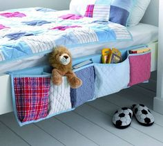 sewing idea: bed storage.  This would be great for kid's beds... Phone, iPod, books, etc. bedroom storage, pocket, kid beds, bunk beds, sew idea, book, sewing ideas, storage ideas, bed storage