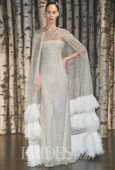 Brides: Naeem Khan Wedding Dresses   Spring 2015   Bridal Runway Shows   Brides.com | Wedding Dresses Style wedding dressses, dress trend, wedding dress styles, bride, bead cape
