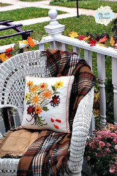 White Wicker Chair, fall throw and pillow