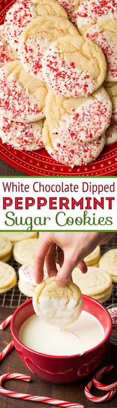 White Chocolate Dipped Peppermint Sugar Cookies - perfectly chewy and peppeminty! A Christmas cookie must!!
