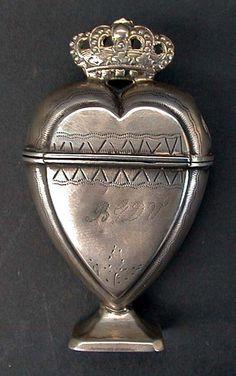 Danish heart-shaped spice box, 18th century