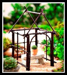 Miniature Garden Pavilion  - Zen Style  ********************************************  FoxSpecialty - #fairy #garden #gardens #miniature #miniatures #fairies #whimsical #whimsy #house - tå√
