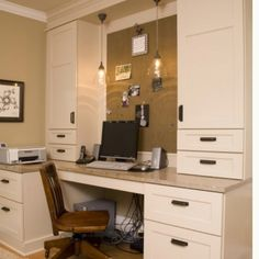 Great office! Cabinets, light fixtures, place for printer and bulletin board for wall
