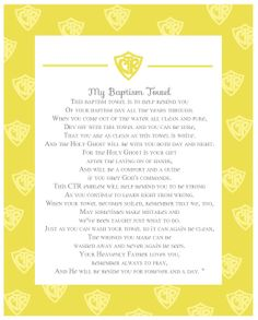Baptism Towel Poem. another version