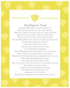 Baptism Towel Poem. another version