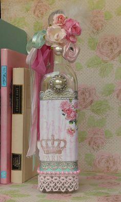 Decorated Glass Bottle Shabby Chic Decor