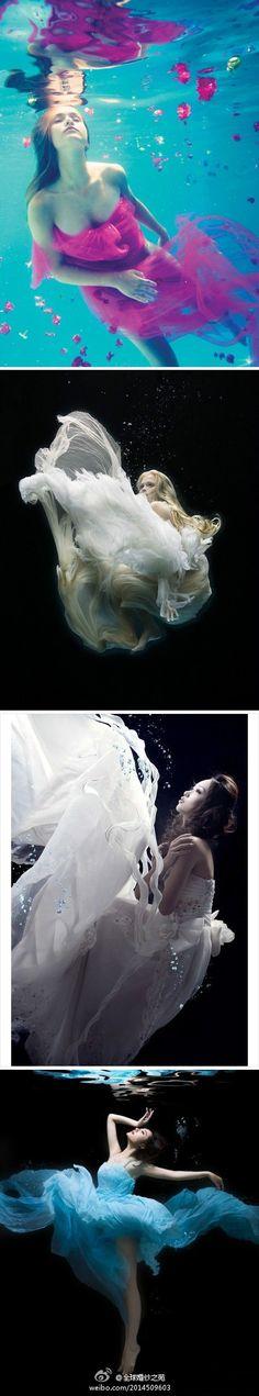 wedding dress under water