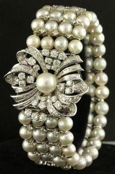 Antique heavy 14K white gold 5.47CT VS diamond/6mm pearl multi-strand bracelet