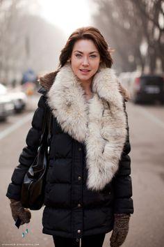 fur scarf, coat