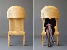 """This chair is titled """"Emanuelle is Shy"""".  Perhaps Emanuelle talks too much?"""