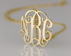 Monogrammed Gold Necklace - Etsy.