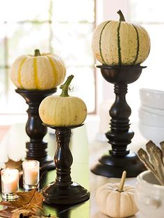 centerpiec, candle holders, decorating ideas, fall decorating, fall decorations, display, candlestick, white pumpkins, halloween