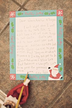 Note from Elf to children